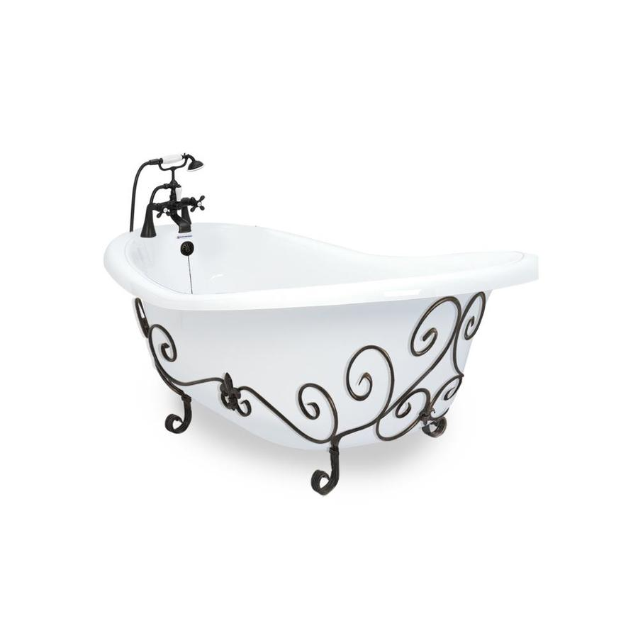 American Bath Factory Acrylic Round Clawfoot Bathtub with Reversible Drain (Common: 60-in x 32-in; Actual: 31-in x 32-in x 67-in)