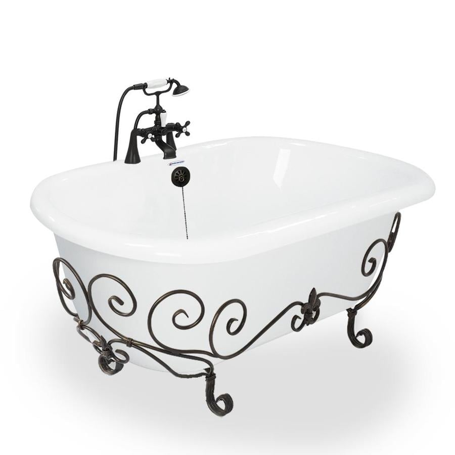 American Bath Factory 60-in White Acrylic Clawfoot Bathtub with Center Drain