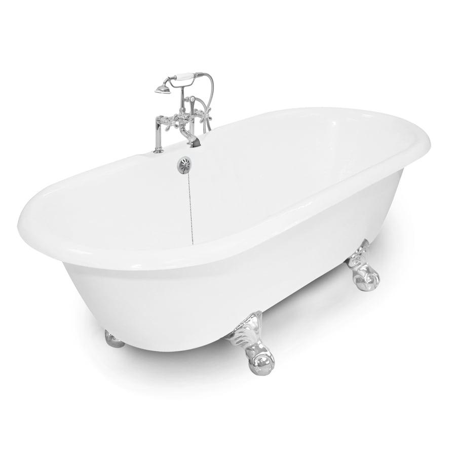 American Bath Factory Winston 67-in White Cast Iron Bathtub with Reversible Drain