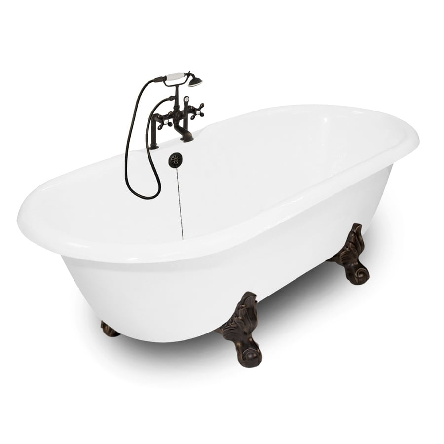American Bath Factory Winston 67-in White Cast Iron Bathtub with Reversible Drain
