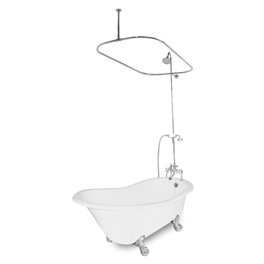 American Bath Factory Wintess 61.5-in White Cast Iron Bathtub with Reversible Drain