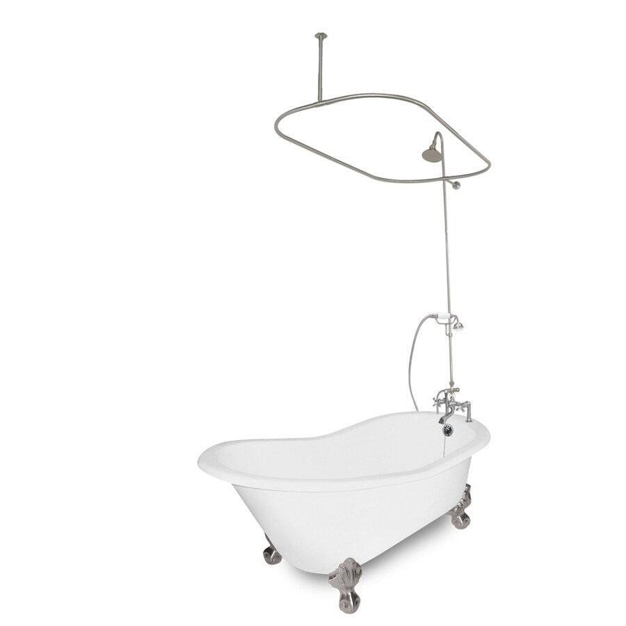 American Bath Factory Wintess 61.5-in White Cast Iron Bathtub with Reversible Drain