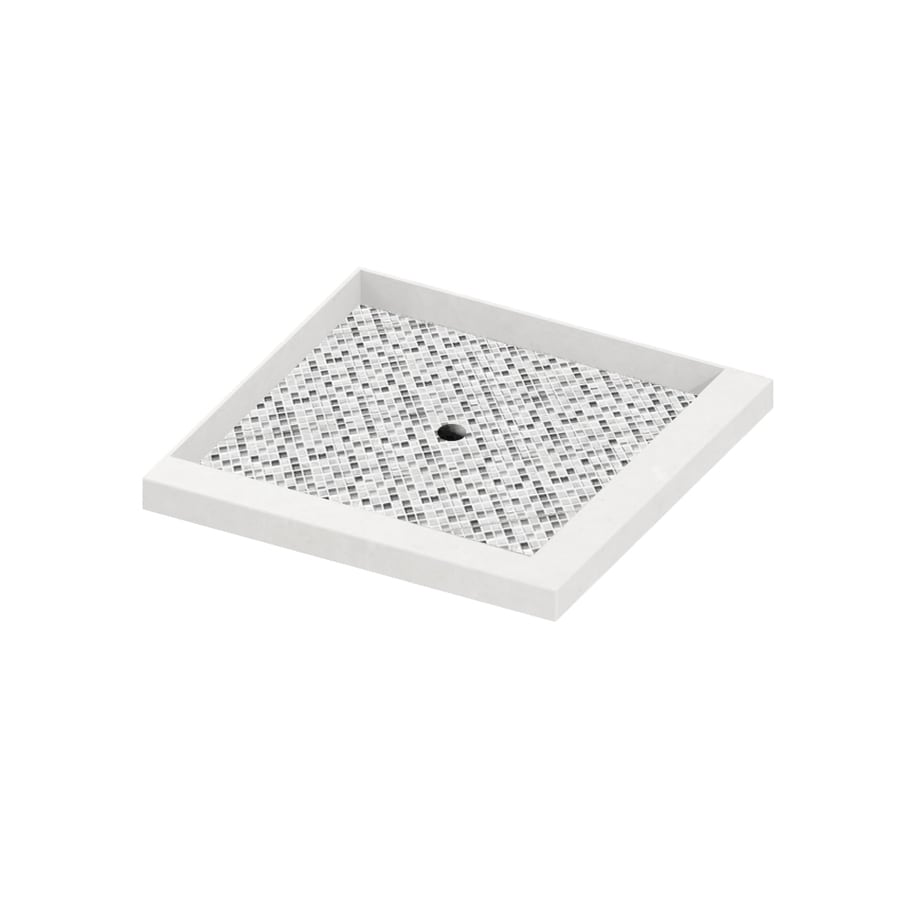 American Bath Factory 36-in L x 36-in W Light with Mosaic Accent Molded Stone Square Corner Shower Base