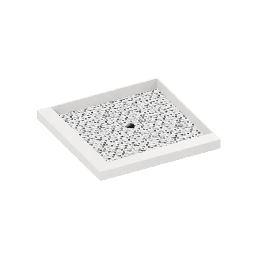 American Bath Factory Laguna 36-in L x 36-in W Light with Mosaic Accent Solid Surface Square Corner Shower Base