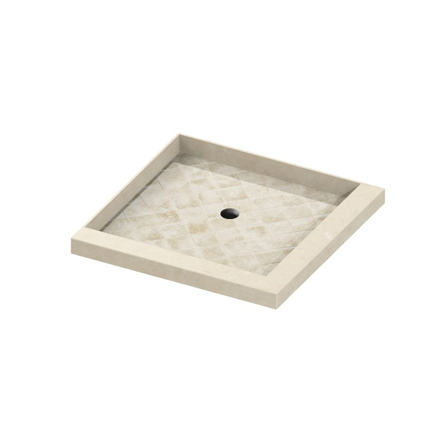 American Bath Factory Flagstaff 36-in L x 36-in W Medium with Dark Stone Accent Molded Stone Square Corner Shower Base