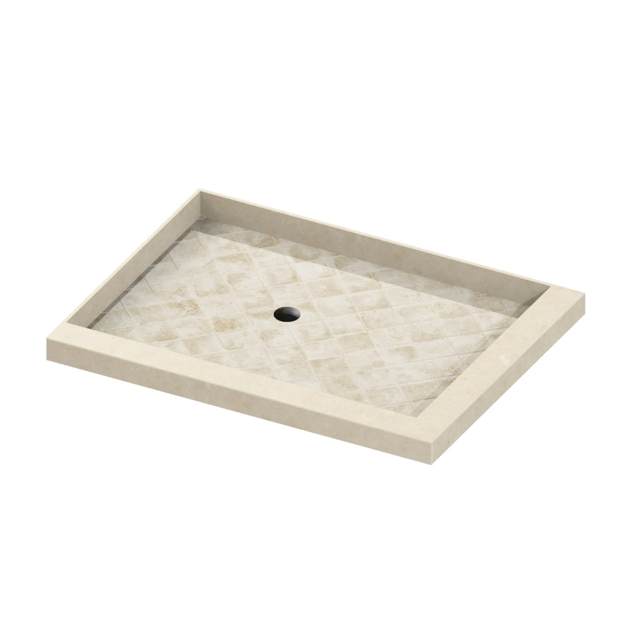 American Bath Factory 48-in L x 36-in W Flagstaff Molded Stone Square Corner Shower Base