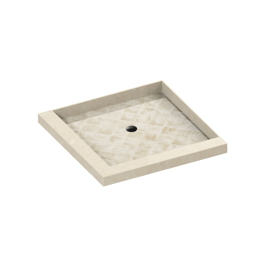 American Bath Factory 36-in L x 36-in W Medium with Dark Stone Accent Molded Stone Square Corner Shower Base