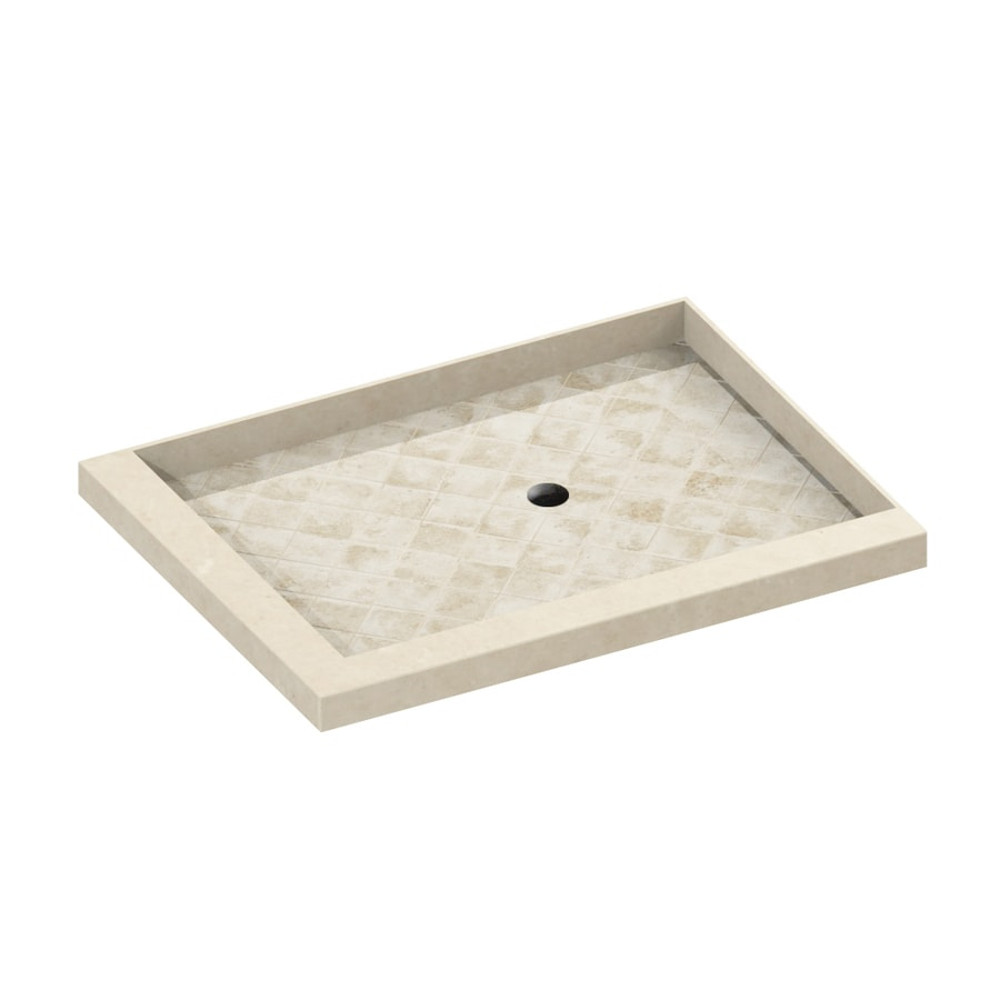 American Bath Factory 48-in L x 36-in W Medium with Dark Accent Molded Stone Square Corner Shower Base