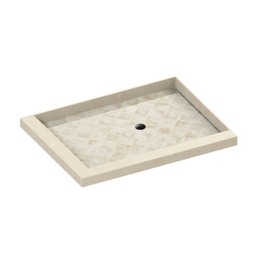 American Bath Factory 48-in L x 42-in W Flagstaff Molded Stone Square Corner Shower Base