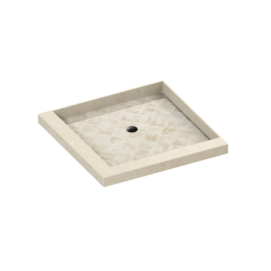 American Bath Factory Sonoma 36-in L x 36-in W Medium with Dark 4x4 Accent Solid Surface Square Corner Shower Base