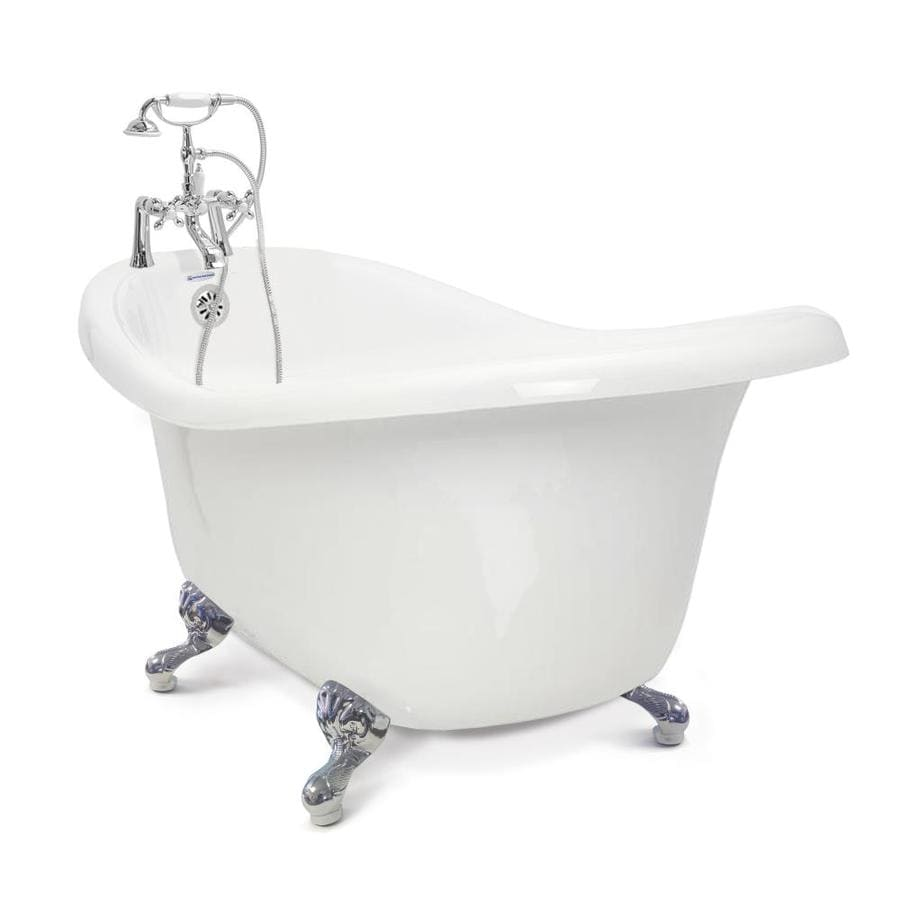 American Bath Factory Chelsea Acrylic Oval In Rectangle Clawfoot Bathtub with Reversible Drain (Common: 31-in x 59-in; Actual: 32-in x 31-in x 59-in)