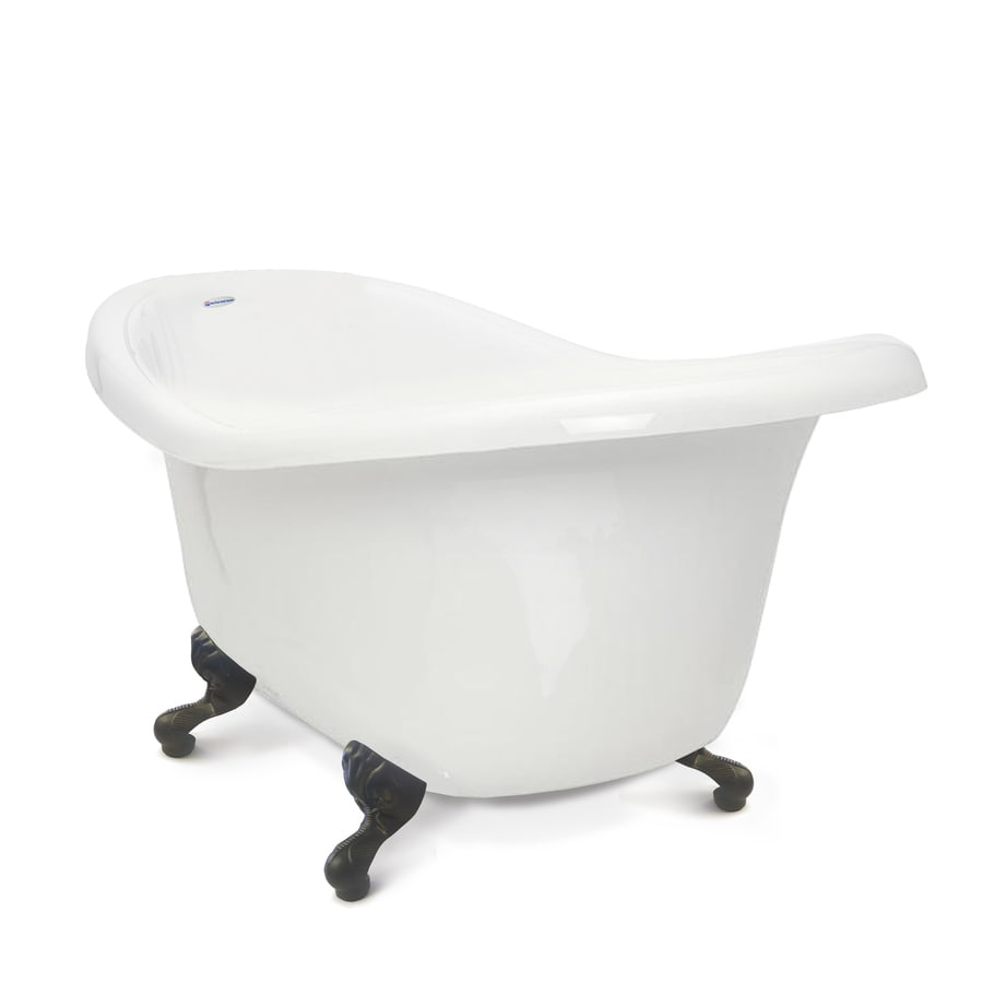 American Bath Factory Chelsea 60-in White Tub/Old World Bronze-ft Acrylic Clawfoot Bathtub with Reversible Drain