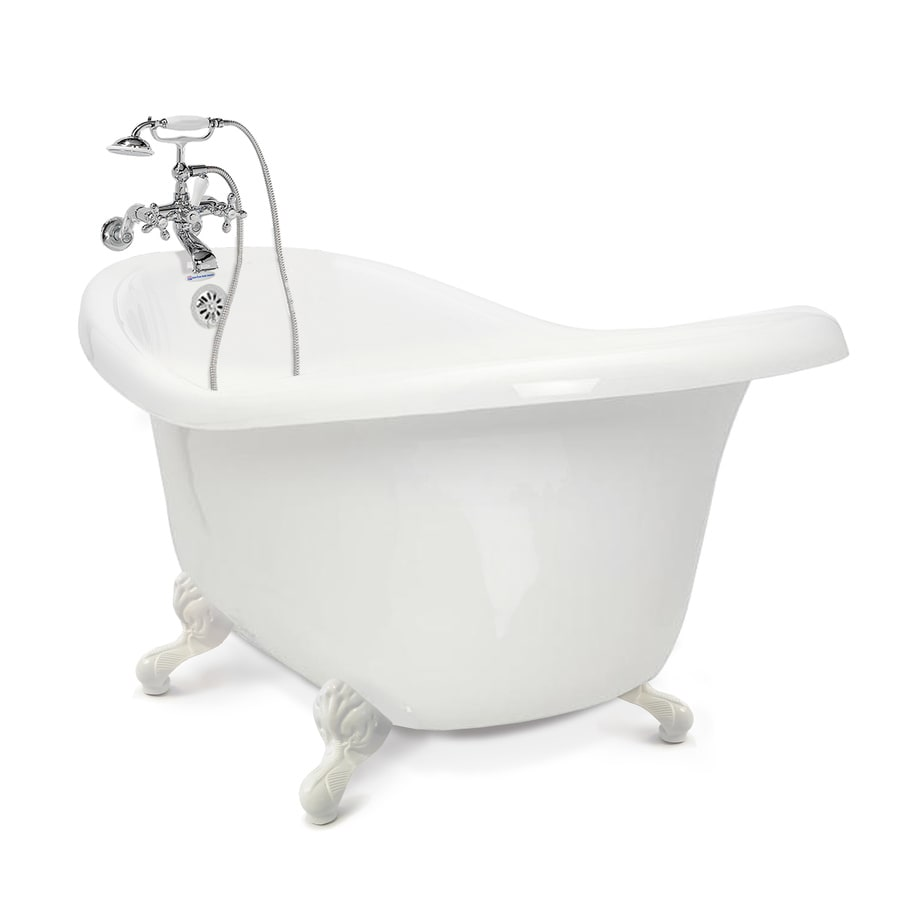 shop american bath factory chelsea 60 in white tub white ft acrylic clawfoot bathtub with. Black Bedroom Furniture Sets. Home Design Ideas