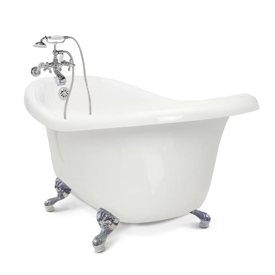 American Bath Factory Chelsea 60-in White Tub/Chrome Foot Acrylic Clawfoot Bathtub with Reversible Drain