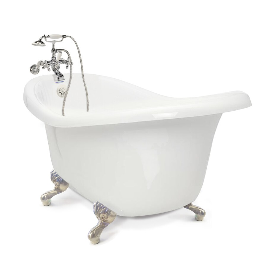 American Bath Factory Chelsea 60-in White Tub/Satin Nickel-ft Acrylic Clawfoot Bathtub with Reversible Drain
