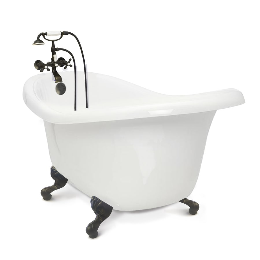 American Bath And Shower Company shop american bath factory chelsea 60-in white tub/old world bronze