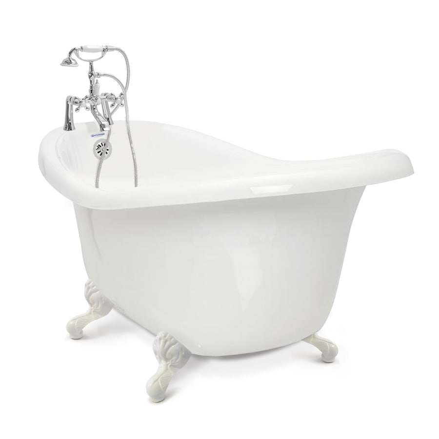 American Bath Factory Chelsea 60-in White Tub/White Foot Acrylic Clawfoot Bathtub with Reversible Drain