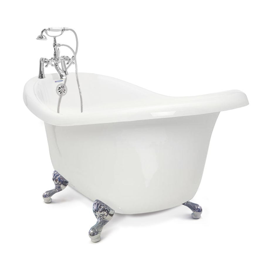 American Bath Factory Chelsea 60-in White Tub/Chrome-ft Acrylic Clawfoot Bathtub with Reversible Drain