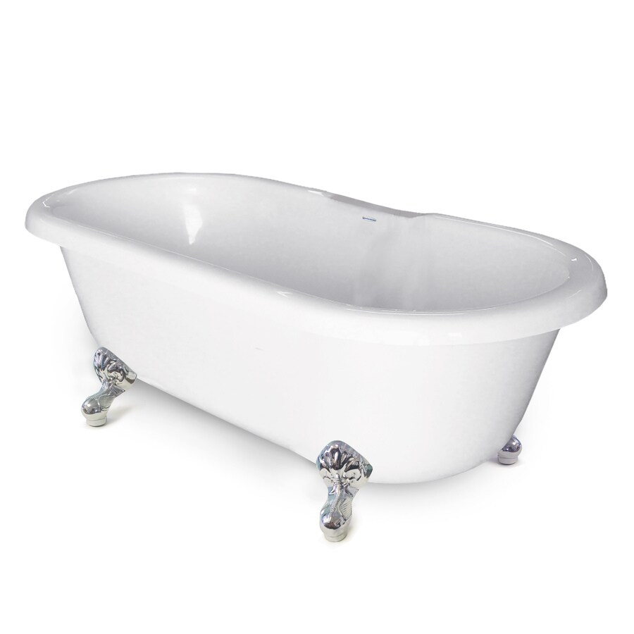 American Bath Factory Chelsea 60-in White Tub/Chrome Foot Acrylic Clawfoot Bathtub with Back Center Drain
