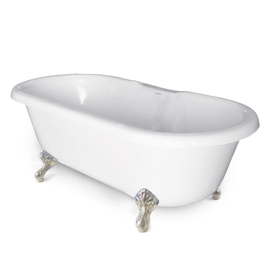 Shop american bath factory chelsea 60 in white tub satin for Acrylic clawfoot tub reviews