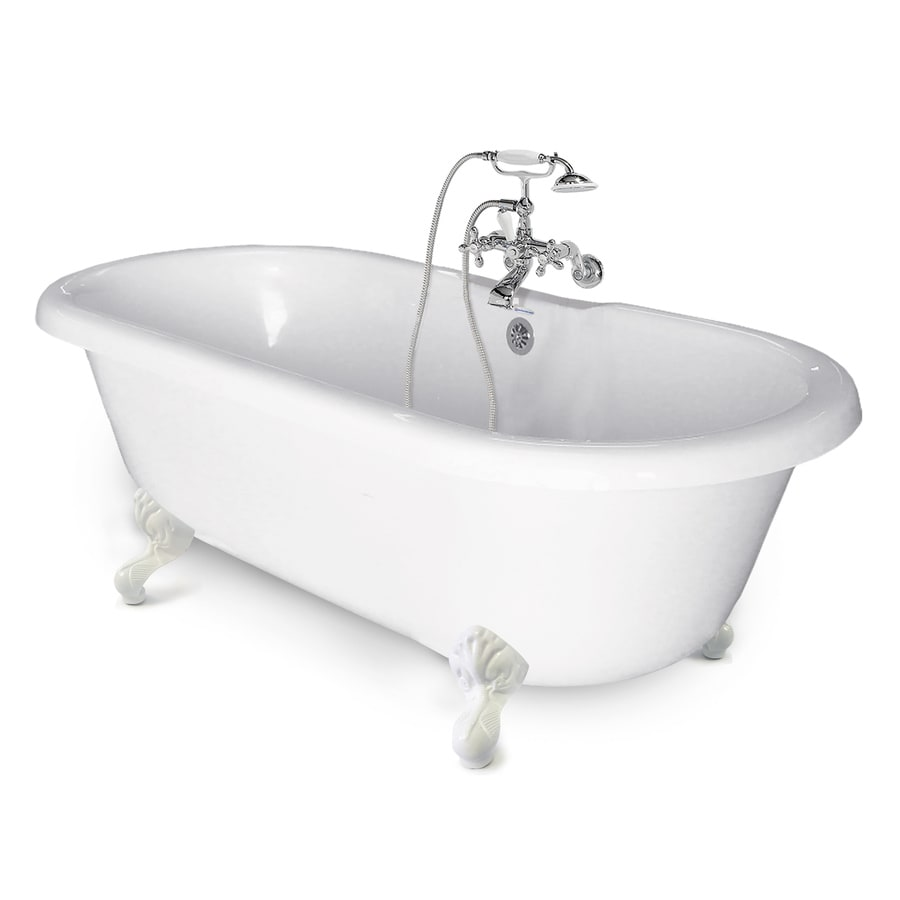 American Bath Factory Chelsea 60-in White Tub/White Foot Acrylic Clawfoot Bathtub with Back Center Drain