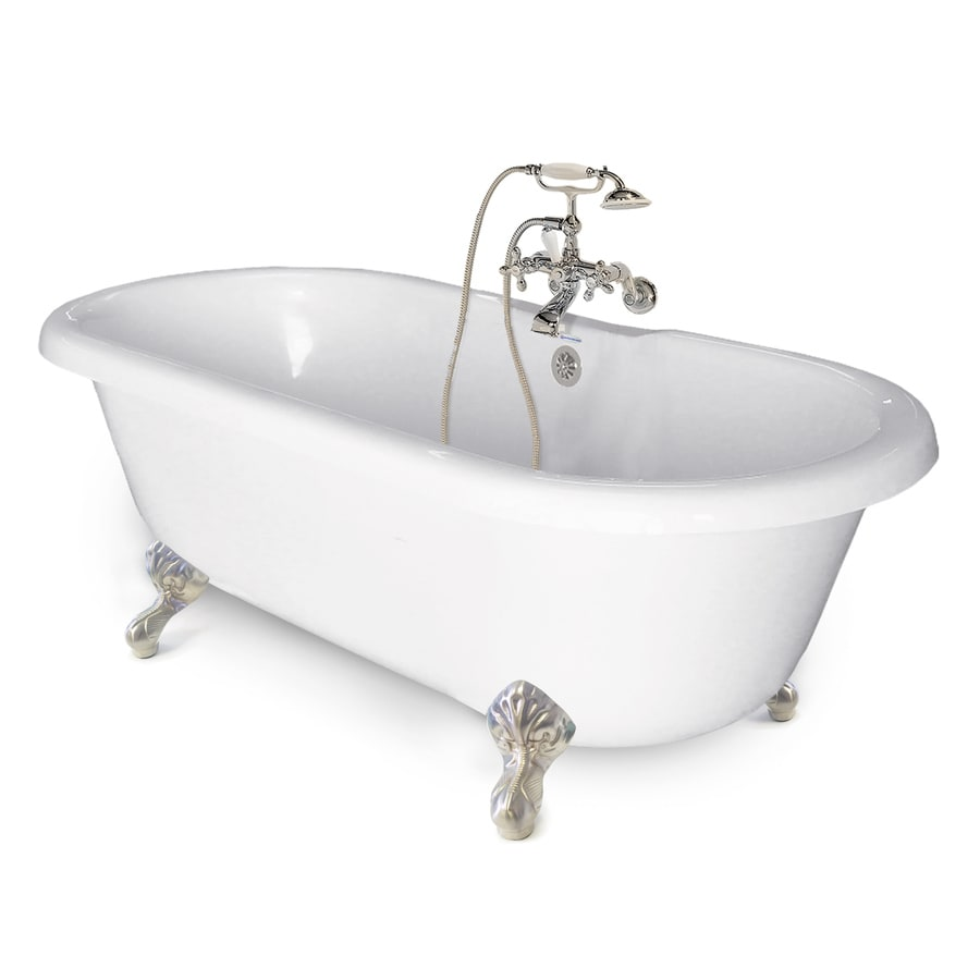 American Bath Factory Chelsea 60-in White Tub/Satin Nickel-ft Acrylic Clawfoot Bathtub with Back Center Drain