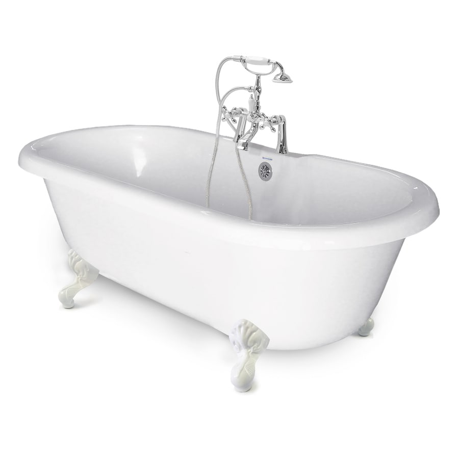 Shop american bath factory chelsea 60 in white tub white for Acrylic clawfoot tub reviews