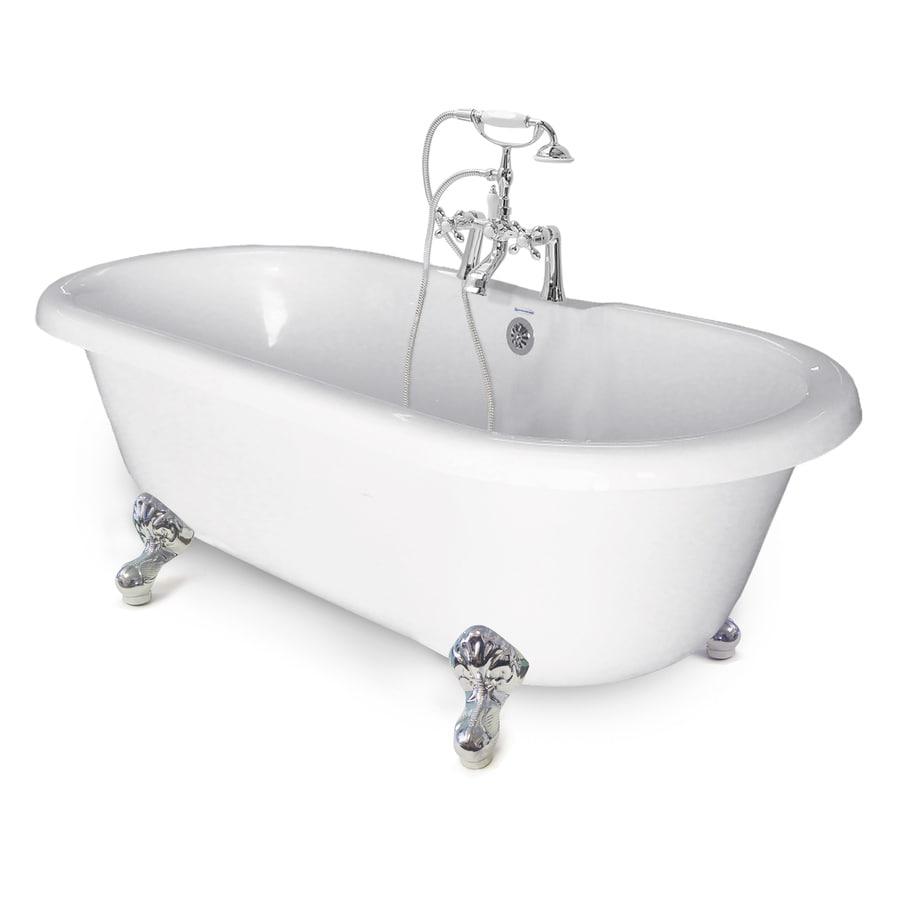 American Bath Factory Chelsea 60-in White Tub/Chrome-ft Acrylic Clawfoot Bathtub with Back Center Drain