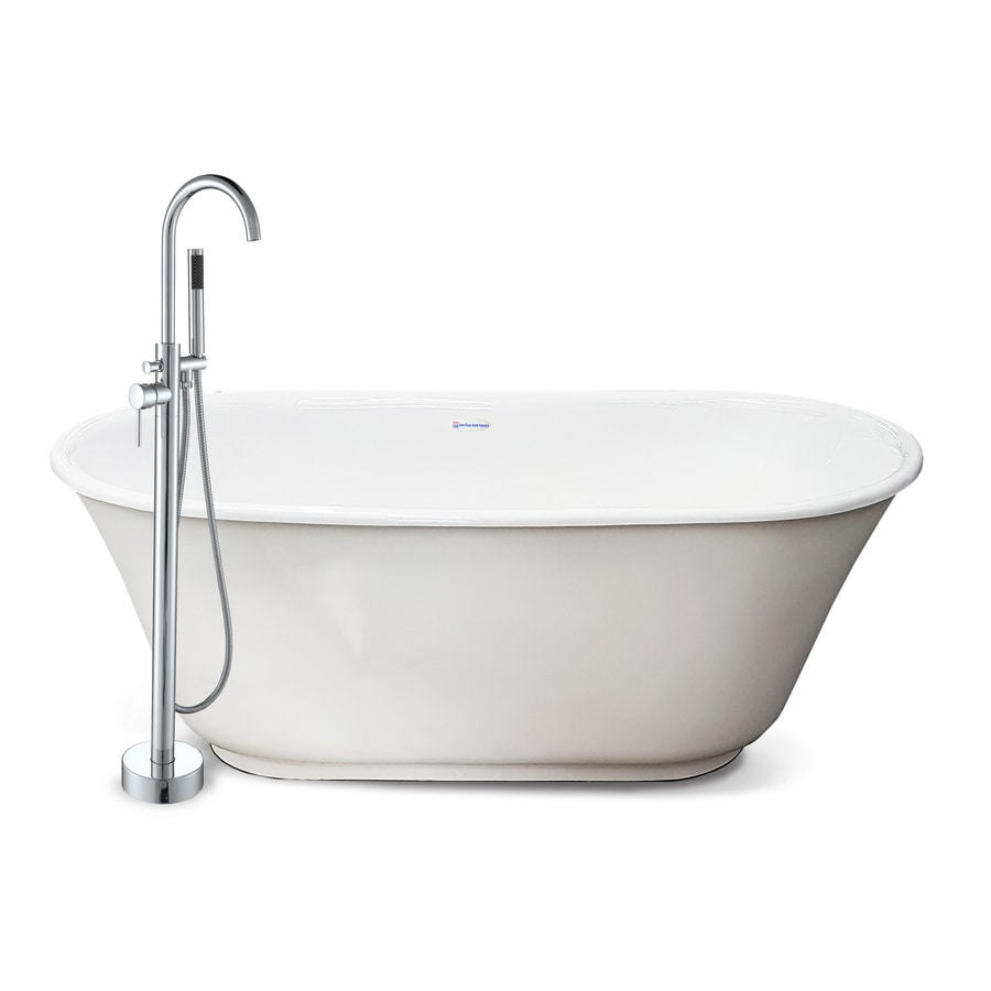 american bath factory chelsea 60in white tub acrylic bathtub with back center drain