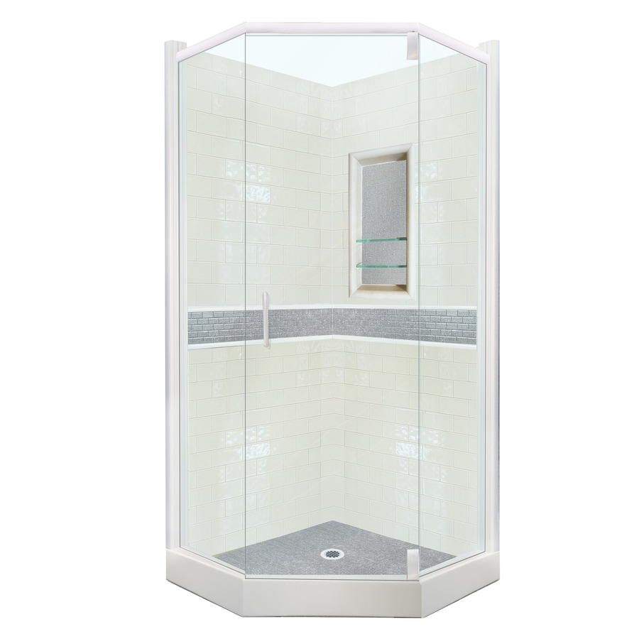 corner shower kits with walls. American Bath Factory Chelsea Sistine Stone Wall Composite Floor  Neo angle 31 Piece Shop Corner Shower Kits at Lowes com
