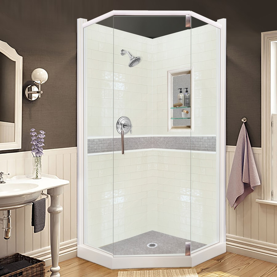 shop corner shower kits at lowes com american bath factory chelsea sistine stone wall stone composite floor neo angle 33 piece