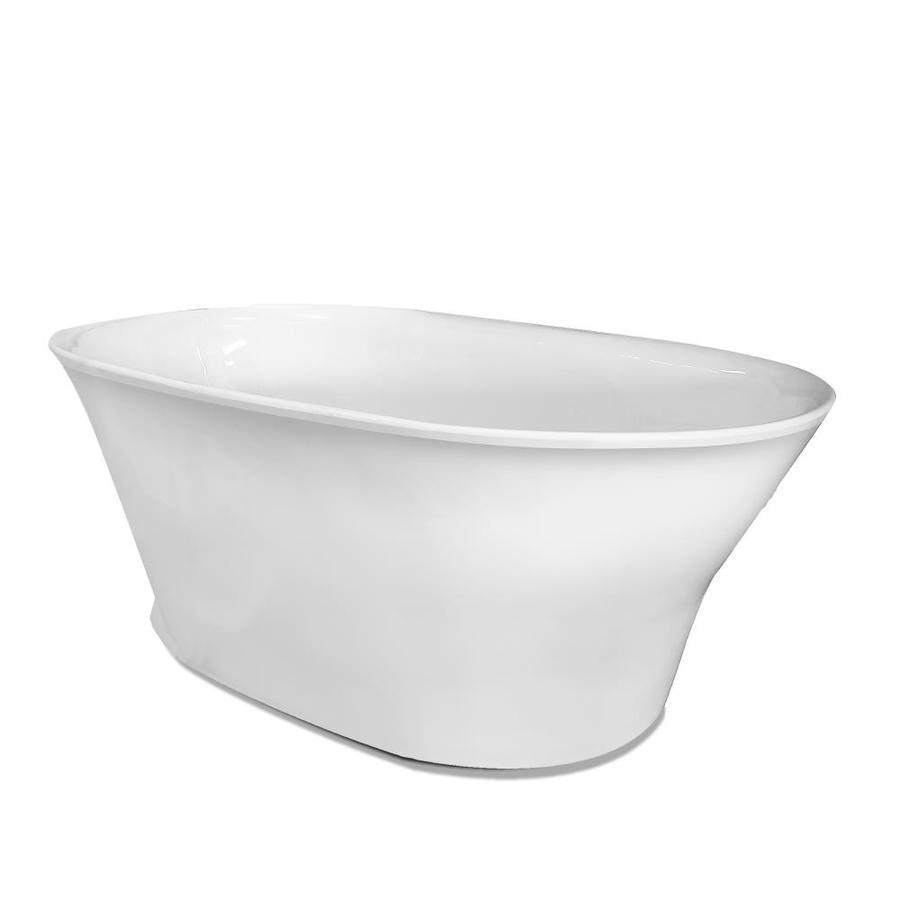 American Bath Factory William 56-in White Acrylic Freestanding Bathtub with Back Center Drain