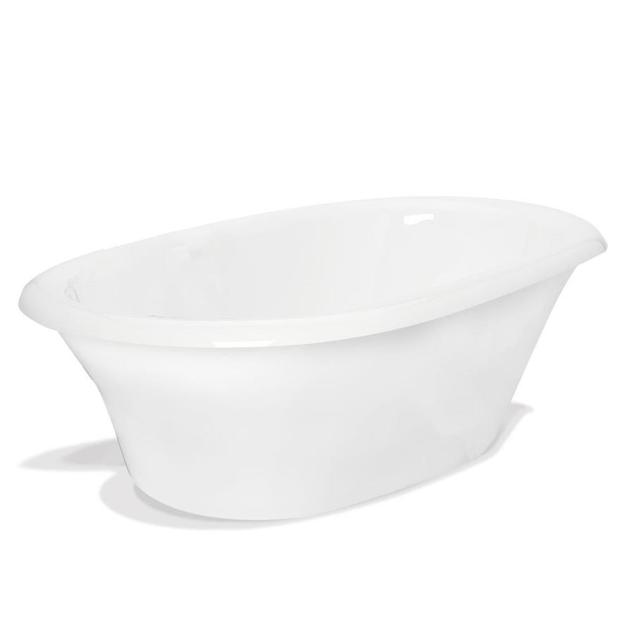 American Bath Factory Heather 72-in White Acrylic Freestanding Bathtub with Back Center Drain