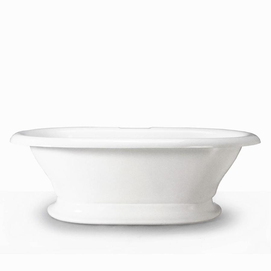 American Bath Factory Earl 72 In White Acrylic Pedestal Bathtub With Back  Center Drain
