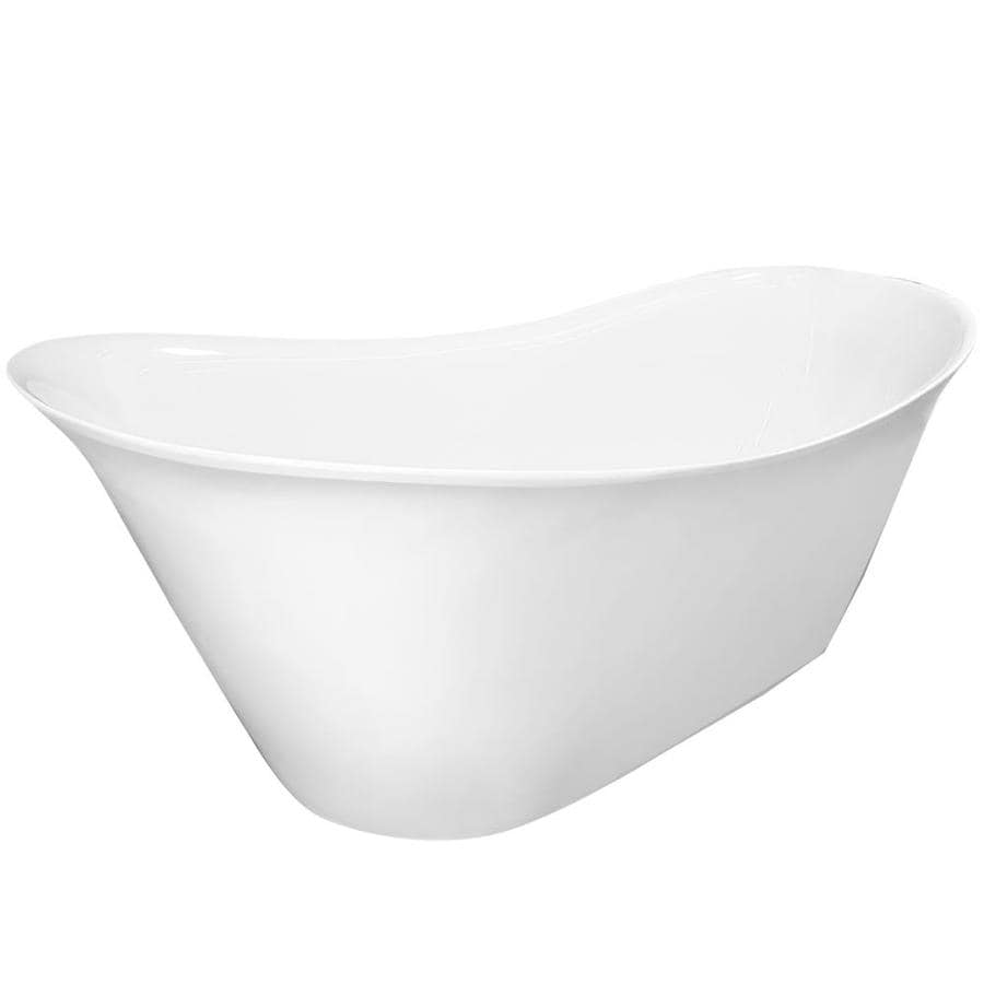American Bath Factory Kate 63-in White Acrylic Freestanding Bathtub with Reversible Drain