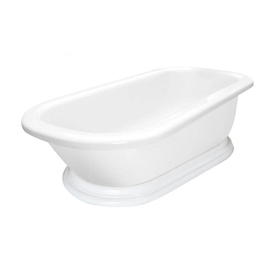 American Bath Factory Charlotte 54-in White Acrylic Freestanding Bathtub with Reversible Drain