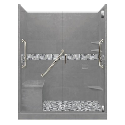 American Bath Factory Freedom Grand Wet Cement Newport Satin Nickel 40 Piece 60 In X 36 In X 80 In Alcove Shower Kit In The Alcove Shower Kits Department At Lowes Com