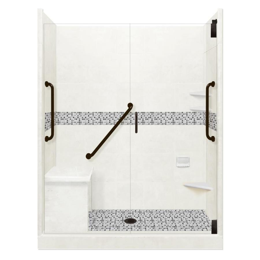 American Bath Factory Freedom Grand Natural Buff Del Mar Black Pipe 40 Piece 60 In X 42 In X 80 In Alcove Shower Kit In The Alcove Shower Kits Department At Lowes Com