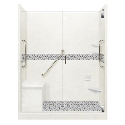 American Bath Factory Freedom Grand Natural Buff Newport Satin Nickel 40 Piece 60 In X 30 In X 80 In Alcove Shower Kit