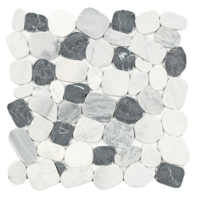 10 Pack Mixed Carrara Nero 12 In X Pebble Mosaic Floor And Wall Tile Common Actual 11 81