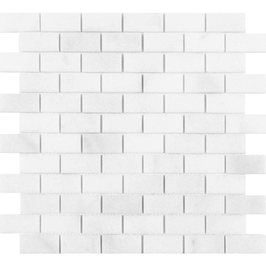 - Satori Bianco Polished 12-in X 12-in Polished Brick Brick Look