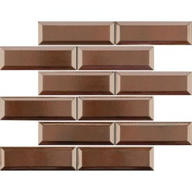 Satori Metallic 12-in x 12-in Metallic Porcelain Brick Mosaic Wall Tile