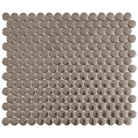 Satori Metallic 12-in x 12-in Metallic Porcelain Penny Round Mosaic Wall Tile