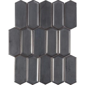Satori Gunmetal Metallic Picket 12-in x 12-in Metallic Porcelain Mosaic Wall Tile