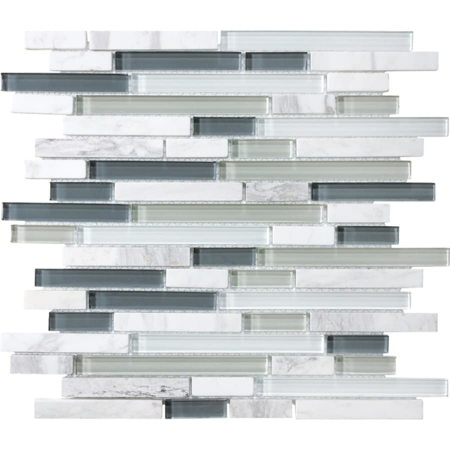 Shop allen + roth Venatino Linear Mosaic Stone and Glass Marble Wall ...