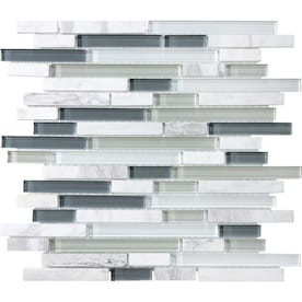 allen + roth Venatino 12-in x 12-in Stone And Glass Linear Marble Mosaic Wall Tile (Common: 12-in x 12-in; Actual: 12-in x 11.88-in)