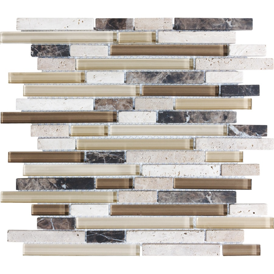 Sample Brown Glass Natural Stone Linear Mosaic Tile Wall: Shop Anatolia Tile Java Stone And Glass Linear Mosaic Wall