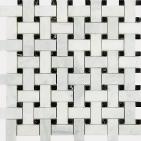 Anatolia Tile Venatino Polished 12-in x 12-in Basketweave Marble Mosaic Wall Tile (Common: 12-in x 12-in; Actual: 12-in x 12-in)