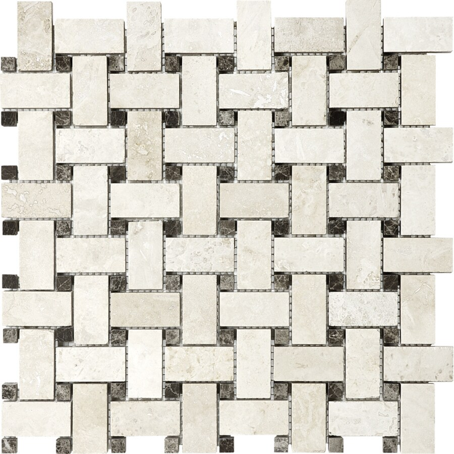 anatolia tile ivory travertine basketweave mosaic travertine wall tile common 12in x