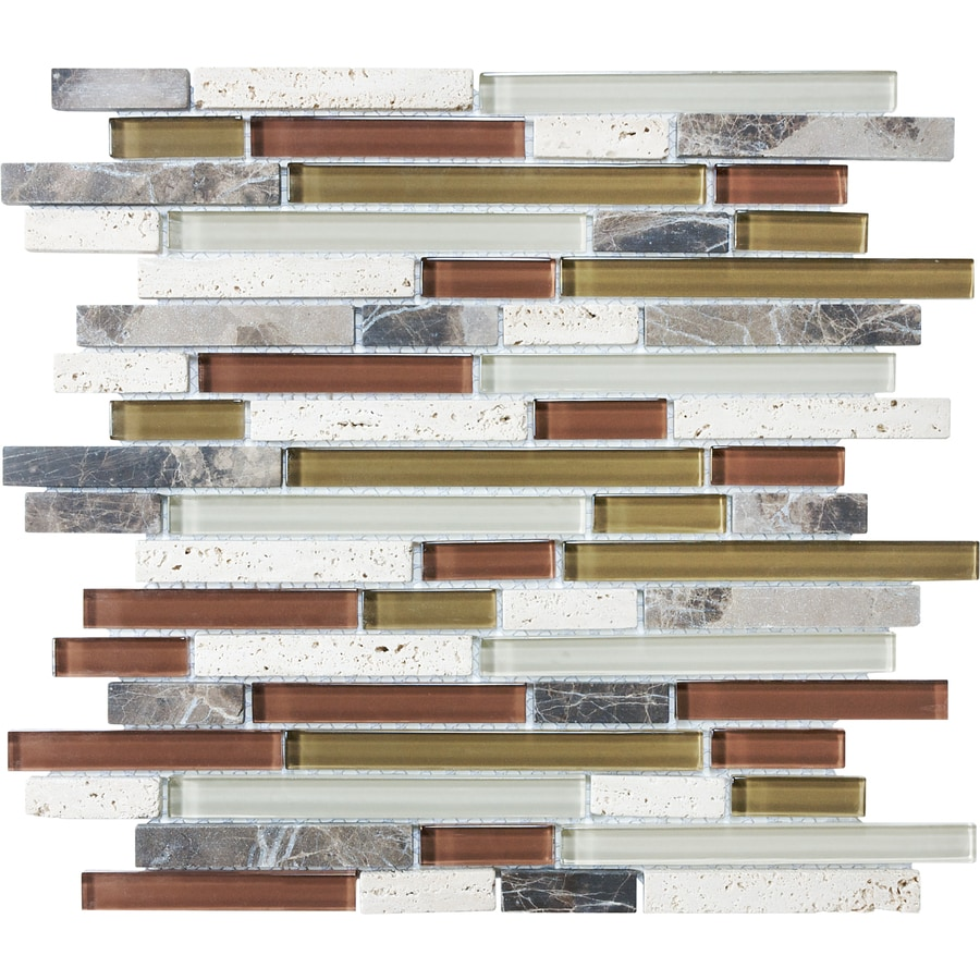 Shop Cranberry Linear Mosaic Stone and Glass Travertine Wall Tile ...